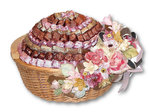 Large Round Wicker Basket Filled with French Chocolate