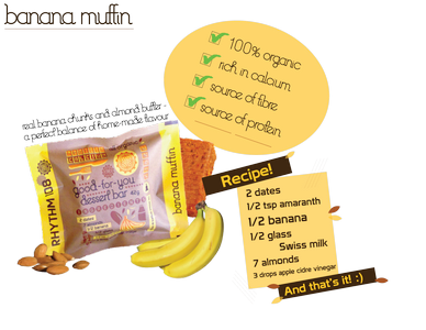 Banana Muffin Snack Bar Good-For-You 42g, Rhythm 108