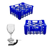 REGENT BLUE PLASTIC CRATE WITH WINE GLASSES, 30'S (250ML) & WAITER'S FRIEND