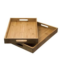 REGENT BAMBOO TRAYS WITH HANDLE 2PCE SET (410X281X51MM&435X305X51MM0