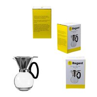REGENT COFFEE MAKER GLASS POUR OVER CARAFE WITH S/S FILTER ESPRESSO 8 CUP
