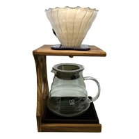 COFFEE POUR OVER ROSEWOOD STAND WITH FILTER & GLASS JUG (500ML)