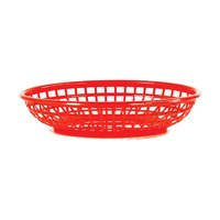 REGENT CATERING PLASTIC SERVING BASKET OVAL RED (240X150X50MM)