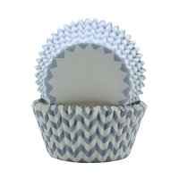 REGENT CAKE CUPS CHEVRON DOVE GREY, 50 PCS (50X37.5MM)