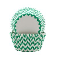 REGENT CAKE CUPS CHEVRON TEAL, 50 PCS (50X37.5MM)