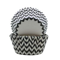 REGENT CAKE CUPS CHEVRON BLACK & WHITE, 50 PCS (50X37.5MM)