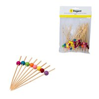 REGENT BAMBOO DISPOSABLE PICKS WITH COLOURED BEADS 50PCS (120MM)