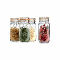 REGENT HERMETIC GLASS SPICE JARS WITH SILICONE & S/STEEL CLIP-TOPS, 4 PIECE SET (178ML)
