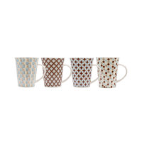 REGENT NEW BONE CHINA V-SHAPE MUG IN 4 ASST. MULTI-TONE BROWN & TEAL GRID DESIGNS (350ML)