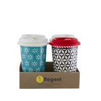 REGENT TRAVEL MUG PORCELAIN WITH SILICONE LID, 4 PACK (400ML)