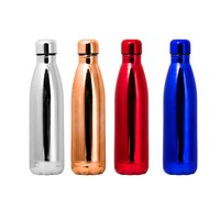 DOUBLE WALLED BOTTLE VACUUM FLASK S/STEEL RED, BLUE,COPPER,SILVER (500ML)