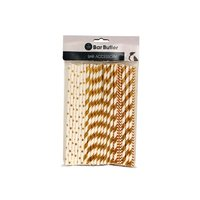 BAR BUTLER PAPER STRAWS GOLD MIXED PACK 3 PLY (6MM) 60PCS
