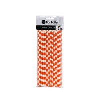BAR BUTLER PAPER STRAWS ORANGE & WHITE CHECK 3 PLY (6MM) 25PCS