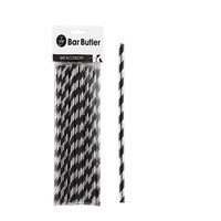 BAR BUTLER PAPER STRAWS BLACK & SILVER STRIPE 3 PLY (6MM) 25PCS
