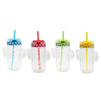 REGENT GLASS CACTUS MASON JAR CLEAR WITH 4 ASST. CHECKED LIDS, SILICONE FLOWERS & STRAWS (400ML)