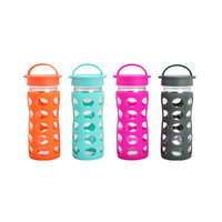 REGENT GLASS WATER BOTTLE WITH SILICONE SLEEVE & LID 4 ASST. COLOURS 450ML (65MM:DX250MM)