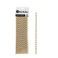 BAR BUTLER PAPER STRAWS WHITE W/GOLD CHECK 3 PLY (6MM) 20PCS