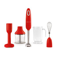SMEG 50S RETRO STYLE FIERY RED HAND BLENDER WITH ACCESSORIES