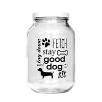 CATERING GLASS JAR WITH DOG PRINT WHITE LID (3L)