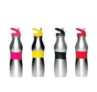 REGENT WATER BOTTLE STAINLESS STEEL WITH SILICONE GRIP IN ASST. COLOURS (500ML)